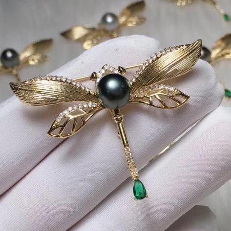 天然南洋海水珍珠胸针,925银镶嵌,高性价比图片