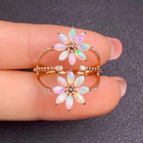 天然18K金镶嵌欧泊戒指,太阳花造型,精致多彩图片