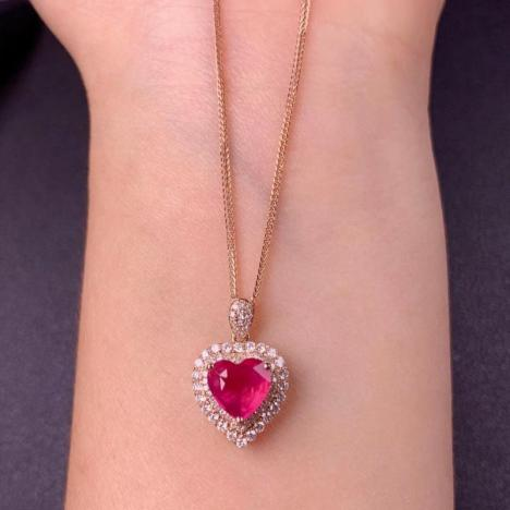 无烧缅甸红宝石吊坠,主石1.67ct,爱心形