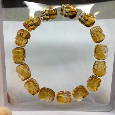 招财貔貅,天然巴西黄水晶貔貅手链,30.8克图片