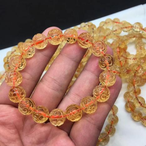 高性价比,天然巴西黄水晶回纹珠手链,招偏财图片
