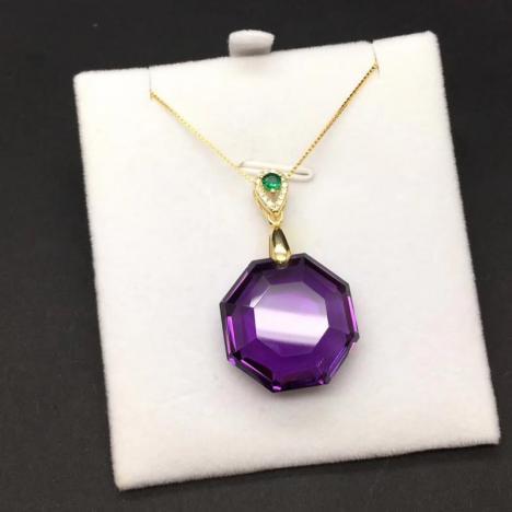 天然巴西紫水晶吊坠,八卦吊坠,直径20MM图片