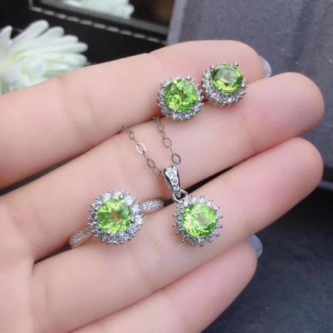 天然绿色,橄榄石925套装,通透全净体,立体设计图片