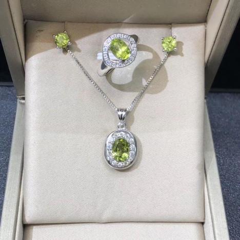 天然橄榄石925银镶嵌套装,高性价比图片