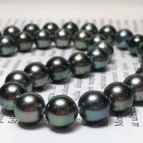 天然大溪地海水黑珍珠项链,孔雀绿,10-11mm图片