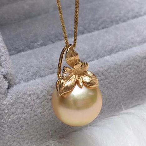 天然海水金珍珠吊坠,18K金镶嵌,正圆中金色图片