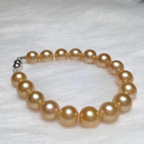 天然海水金珍珠手链,南洋金珍珠,精品珍珠图片