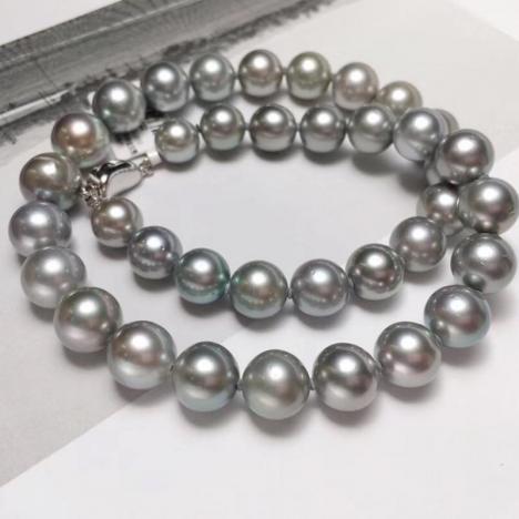 天然大溪地海水灰珍珠项链,10-12mm,大颗粒珍珠图片