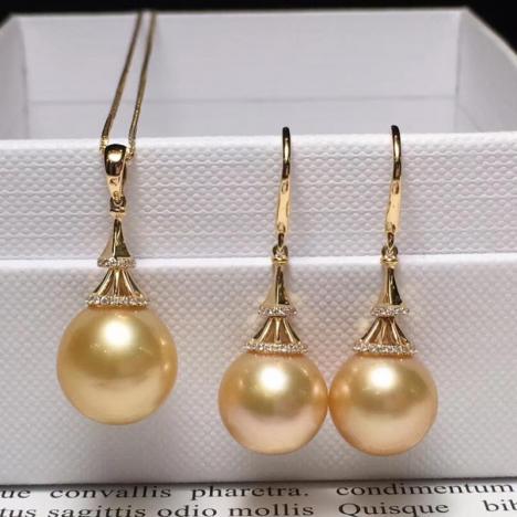 天然海水金珍珠吊坠、耳环套装,18K金镶嵌图片