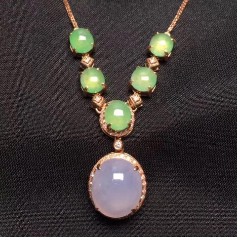 天然A货翡翠项链,冰种紫翡蛋面套链,18K金镶嵌