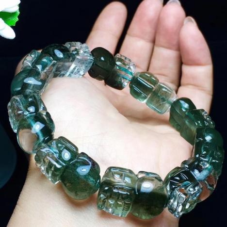天然绿幽灵貔貅手链,貔貅手串,招财辟邪图片