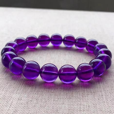 精品天然乌拉圭紫水晶手链,10MM,优雅紫图片