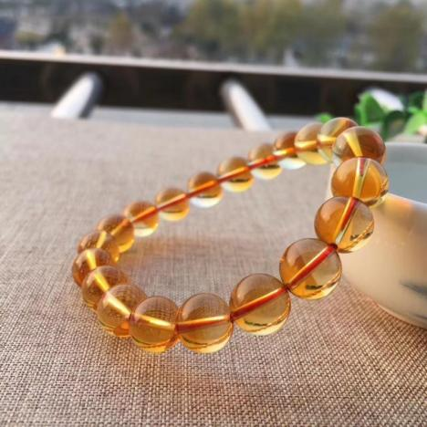 精品天然巴西黄水晶手链,9.5MM,25克,财富水晶图片