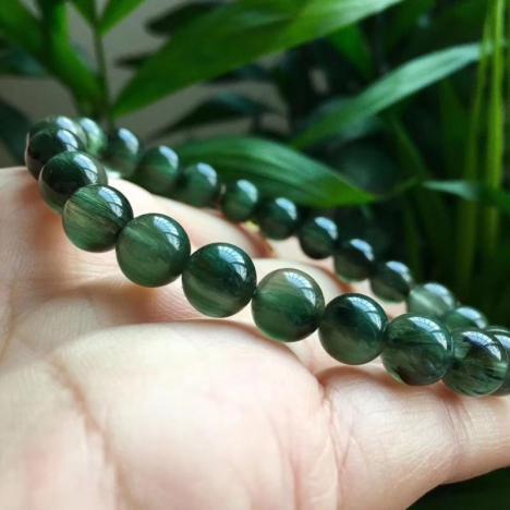 收藏级天然绿发晶手链,8.3MM,浓绿密发,17.88g图片