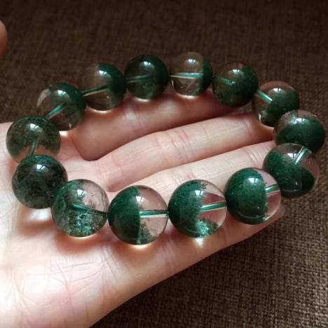 精品大颗粒天然绿幽灵聚宝盆手链,16MM,招财旺事业图片