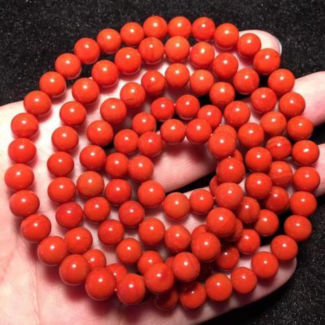 天然南红玛瑙佛珠手串,满肉满色 7.5mm,64.5克
