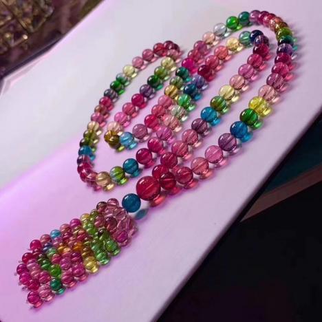 典藏全净玻璃体彩虹碧玺佛珠链,7.5mm,重88g