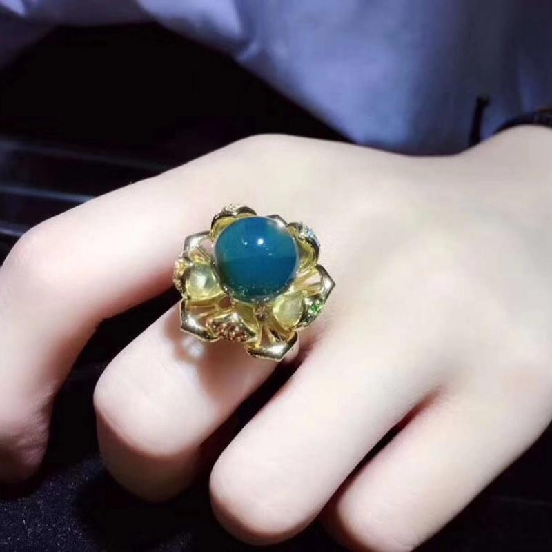 天然墨西哥蓝珀戒指,12MM珠子,五行转运戒指