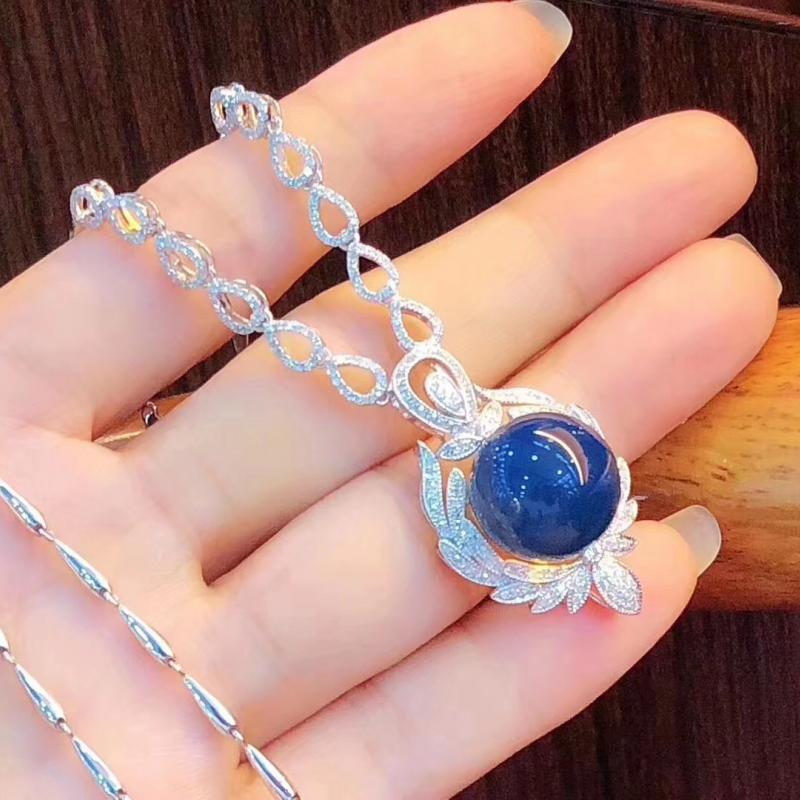 天然多米尼加蓝珀项链,18K金钻石镶嵌,14MM