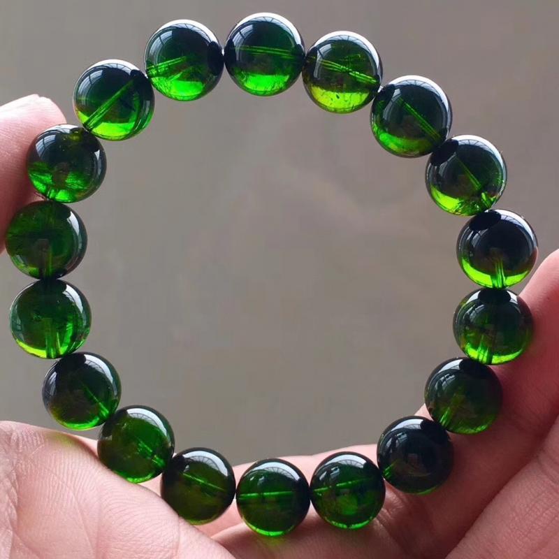 玻璃体巴西绿碧玺手链,11mm,重40克