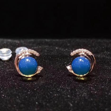 多米尼加蓝珀耳钉,18K金镶嵌,精品天空蓝