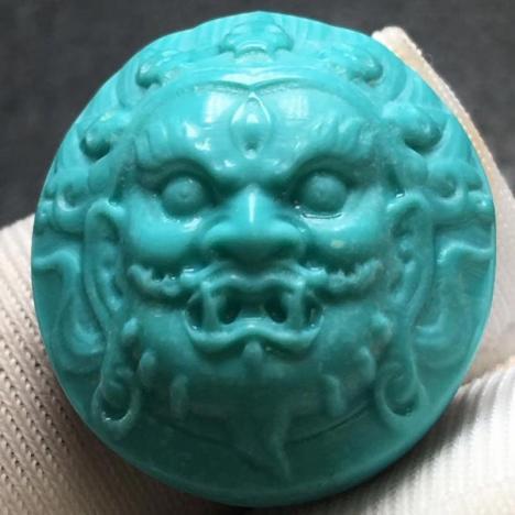 原矿高瓷绿松石黑天戒面 ,3.2克,精品绿松石图片