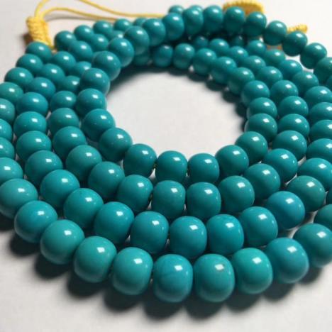 原矿高瓷绿松石老型珠多圈手链 ,26.4克,6MM图片