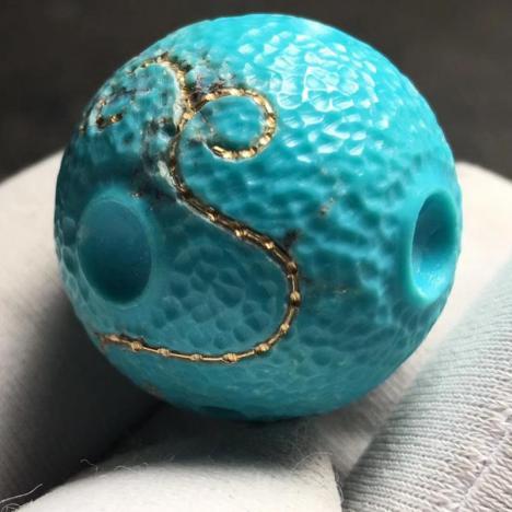 原矿高瓷蓝绿松石搓金珠,10克,21mm 绿松石单珠图片