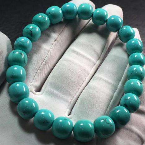 原矿高瓷绿松石老型珠手链 ,18克,约8.3MM图片