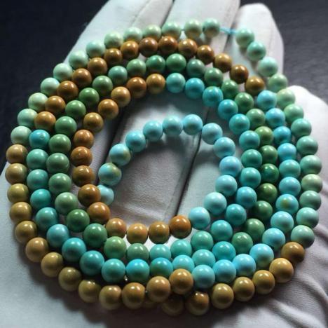 原矿高瓷绿松石多圈手链,重20克,4.5MM图片