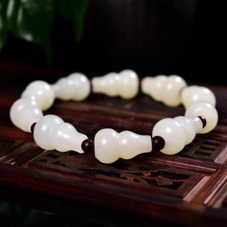 天然和田玉葫芦手链,11MM,福禄双全图片