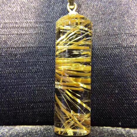 天然发晶路路通吊坠,钛晶圆柱吊坠,6.3克图片