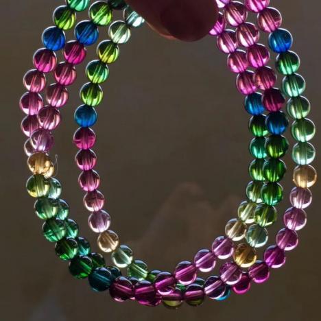 浓彩纯净玻璃体彩虹碧玺三圈手链,5mm,重23g图片