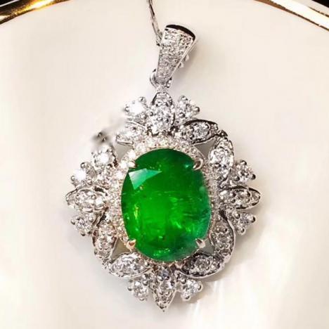 天然祖母绿吊坠,2.37克拉,颜色艳丽图片