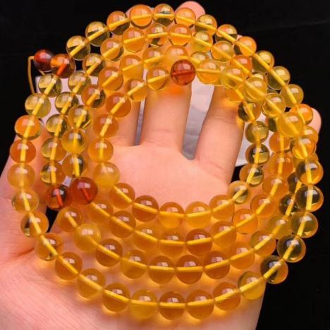 天然琥珀净水金珀108佛珠项链,约8.6MM 全净图片