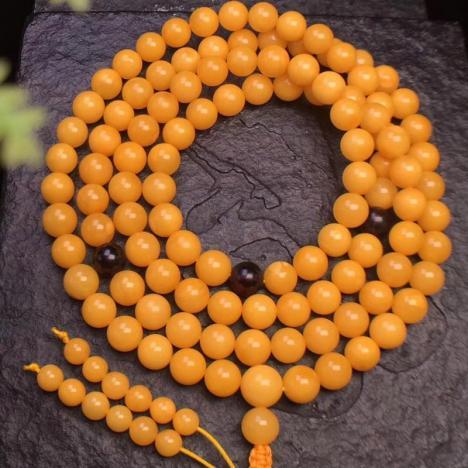 老蜜蜡108佛珠项链,约7.8MM图片