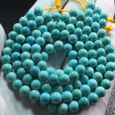 原矿高瓷绿松石圆珠多圈手链项链,27克图片