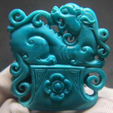 精品高瓷绿松石貔貅吊坠,9.3克,招财瑞兽