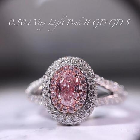 天然彩色钻石粉钻戒指,主石0.5克拉 18K金钻石围镶