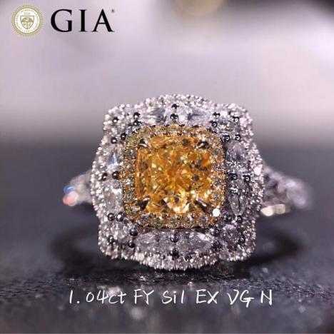 天然彩色钻石黄钻戒指,主石1克拉 SI1