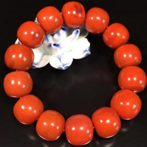 天然川料南红玛瑙手链,老形珠大手链,16MM图片