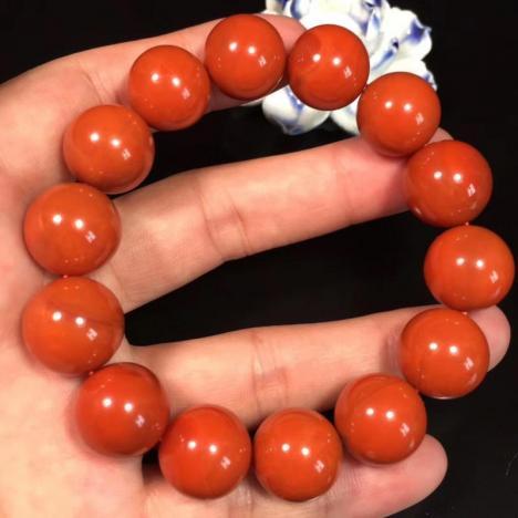 天然川料南红玛瑙手链,满肉满色柿子红,15MM图片
