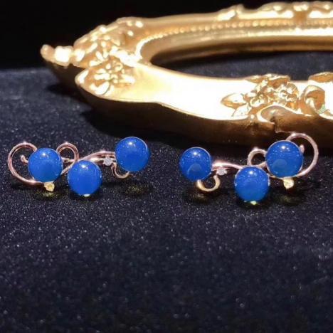 多米尼加蓝珀耳钉,18K金镶嵌,精致高雅