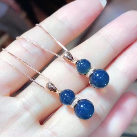 天然墨西哥蓝珀吊坠,18K金镶嵌,葫芦吊坠