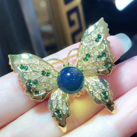 天然墨西哥蓝珀胸针,超精致,珠子9MM图片