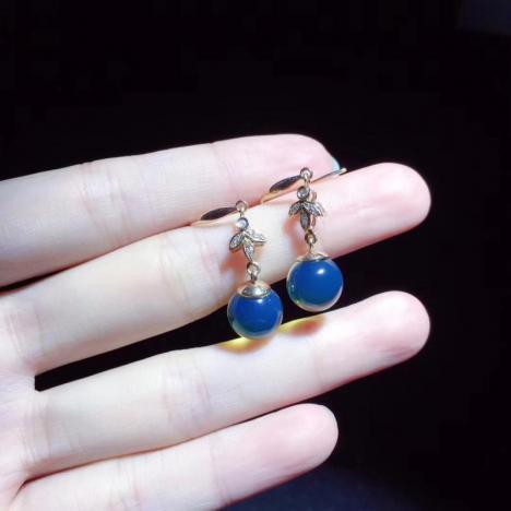 多米尼加蓝珀耳坠,18K金镶嵌,优雅精美图片