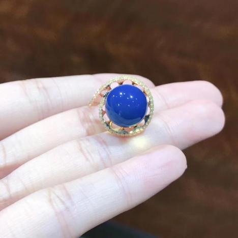 多米尼加蓝珀戒指,18K镶嵌,13圈口图片