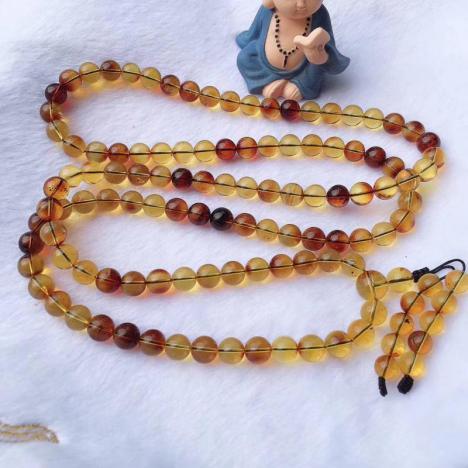 天然墨西哥红蓝珀佛珠手串,珠子9mm,58.6克