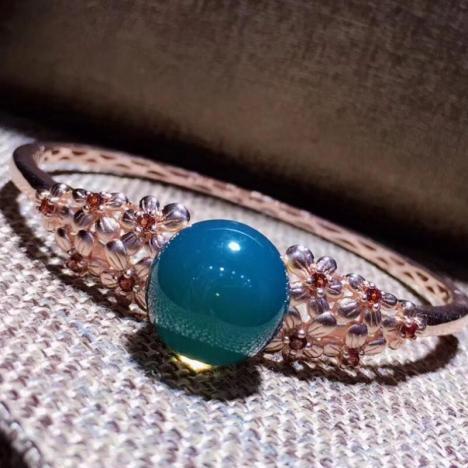 天然墨西哥蓝珀手镯,S925银镶嵌,珠子14mm图片