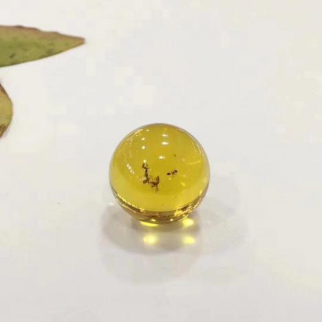 天然墨西哥虫珀单珠,珠子直径22.3mm,6克图片